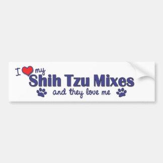 Amo mis mezclas de Shih Tzu (los perros múltiples) Pegatina Para Auto