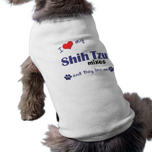 Amo mis mezclas de Shih Tzu (los perros múltiples) Camiseta De Perrito