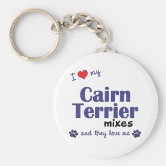 Amo mis mezclas de Terrier de mojón (los perros mú Llavero Redondo Tipo Pin