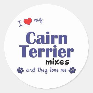 Amo mis mezclas de Terrier de mojón (los perros Pegatina Redonda