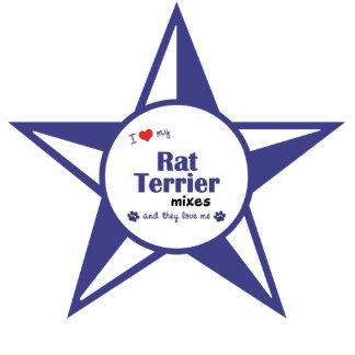 Amo mis mezclas de Terrier de rata (los perros múl Adorno Fotoescultura