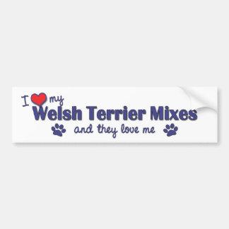 Amo mis mezclas de Terrier galés (los perros múlti Etiqueta De Parachoque