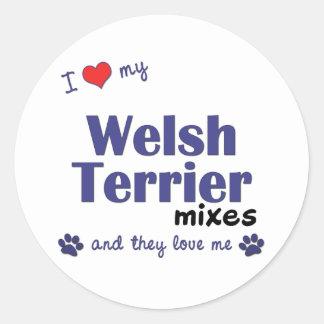 Amo mis mezclas de Terrier galés (los perros múlti Etiqueta