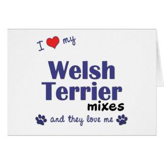 Amo mis mezclas de Terrier galés (los perros múlti Felicitacion
