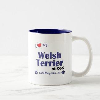 Amo mis mezclas de Terrier galés (los perros múlti Tazas De Café