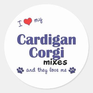 Amo mis mezclas del Corgi de la rebeca (los perros Pegatina Redonda