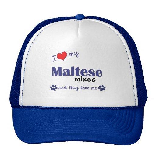 Amo mis mezclas maltesas (los perros múltiples) gorros bordados