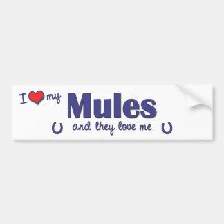 Amo mis mulas (las mulas múltiples) pegatina para auto