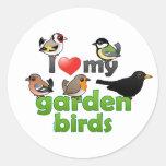 Amo mis pájaros del jardín pegatinas redondas