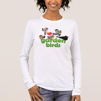 Amo mis pájaros del jardín playera de manga larga