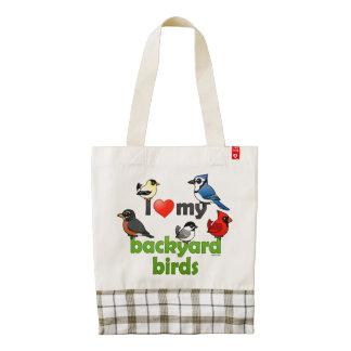 Amo mis pájaros del patio trasero bolsa tote zazzle HEART