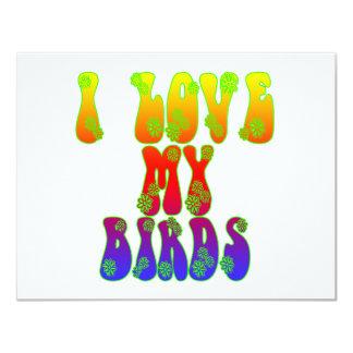"""Amo mis pájaros invitación 4.25"""" x 5.5"""""""