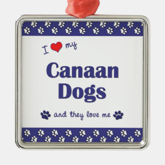 Amo mis perros de Canaan (los perros múltiples) Adorno Cuadrado Plateado