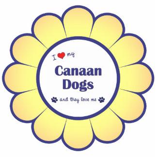 Amo mis perros de Canaan (los perros múltiples) Adorno Fotoescultura