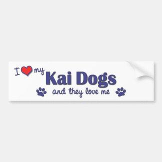 Amo mis perros de Kai (los perros múltiples) Etiqueta De Parachoque
