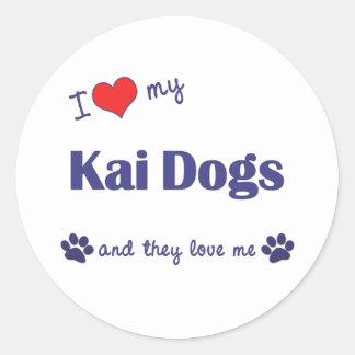 Amo mis perros de Kai (los perros múltiples) Pegatina Redonda