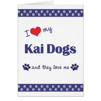 Amo mis perros de Kai (los perros múltiples) Tarjeta Pequeña