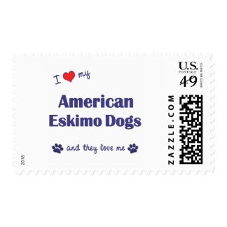 Amo mis perros esquimales americanos (los perros timbres postales