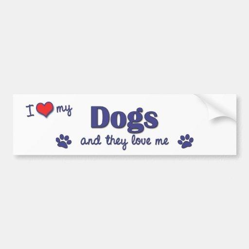 Amo mis perros (los perros múltiples) pegatina para auto