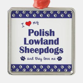 Amo mis perros pastor polacos de la tierra baja adorno cuadrado plateado