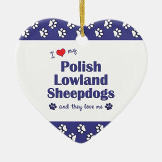 Amo mis perros pastor polacos de la tierra baja adorno de cerámica en forma de corazón
