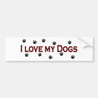 Amo mis perros pegatina de parachoque