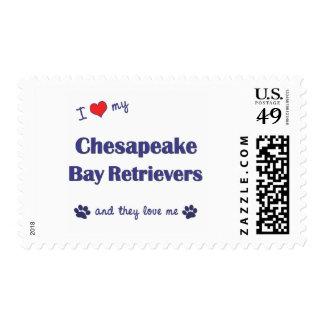 Amo mis perros perdigueros de bahía de Chesapeake Estampillas