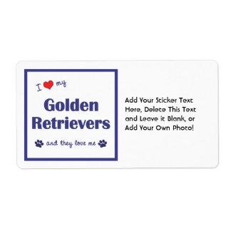 Amo mis perros perdigueros de oro (los perros etiquetas de envío