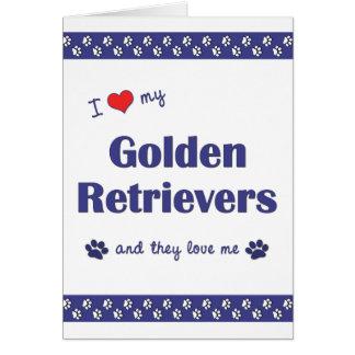 Amo mis perros perdigueros de oro (los perros múlt tarjeta pequeña