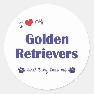 Amo mis perros perdigueros de oro (los perros pegatina redonda