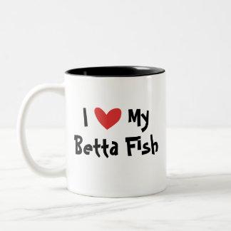 Amo mis pescados de Betta/pescados que luchan siam Taza Dos Tonos