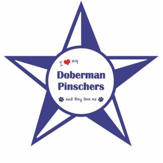 Amo mis Pinschers del Doberman (los perros múltipl Adorno Fotoescultura