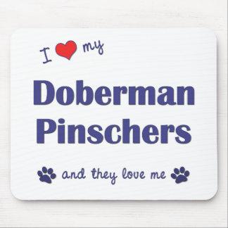 Amo mis Pinschers del Doberman (los perros múltipl Alfombrilla De Ratones