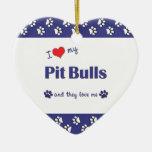 Amo mis pitbulls (los perros múltiples) ornamentos de reyes magos