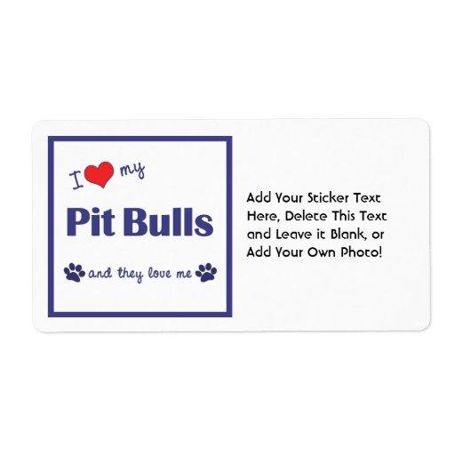 Amo mis pitbulls (los perros múltiples) etiqueta de envío