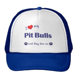 Amo mis pitbulls (los perros múltiples) gorro de camionero