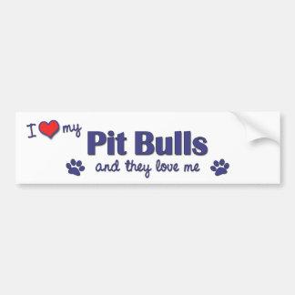 Amo mis pitbulls (los perros múltiples) pegatina para auto