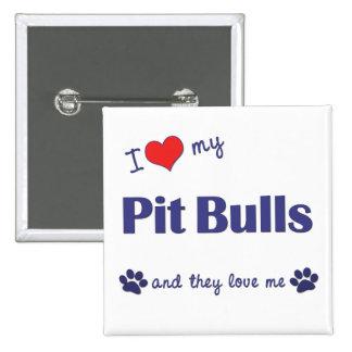 Amo mis pitbulls (los perros múltiples) pin cuadrado