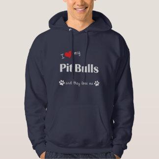 Amo mis pitbulls (los perros múltiples) suéter con capucha