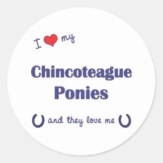 Amo mis potros de Chincoteague (los potros Pegatina Redonda