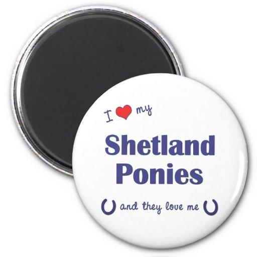 Amo mis potros de Shetland (los potros múltiples) Imanes Para Frigoríficos