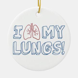 Amo mis pulmones adorno navideño redondo de cerámica
