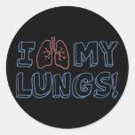 Amo mis pulmones pegatina redonda