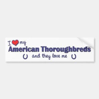 Amo mis pura sangre americanos (los caballos múlti pegatina para auto