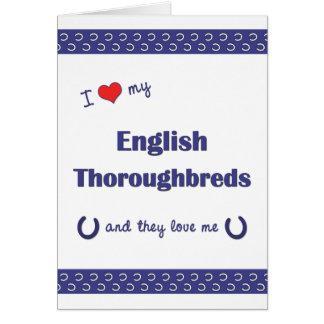 Amo mis pura sangre ingleses (los caballos múltipl tarjeta pequeña
