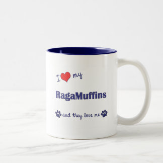 Amo mis RagaMuffins (los gatos múltiples) Taza De Dos Tonos