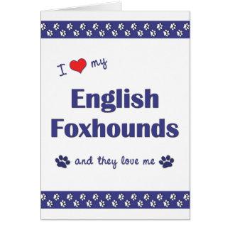 Amo mis raposeros ingleses (los perros múltiples) tarjeta pequeña
