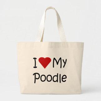 Amo mis regalos del amante de la raza del perro de bolsa tela grande