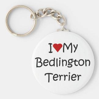 Amo mis regalos del amante del perro de Bedlington Llavero Redondo Tipo Pin