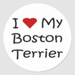 Amo mis regalos del amante del perro de Boston Ter Pegatina Redonda
